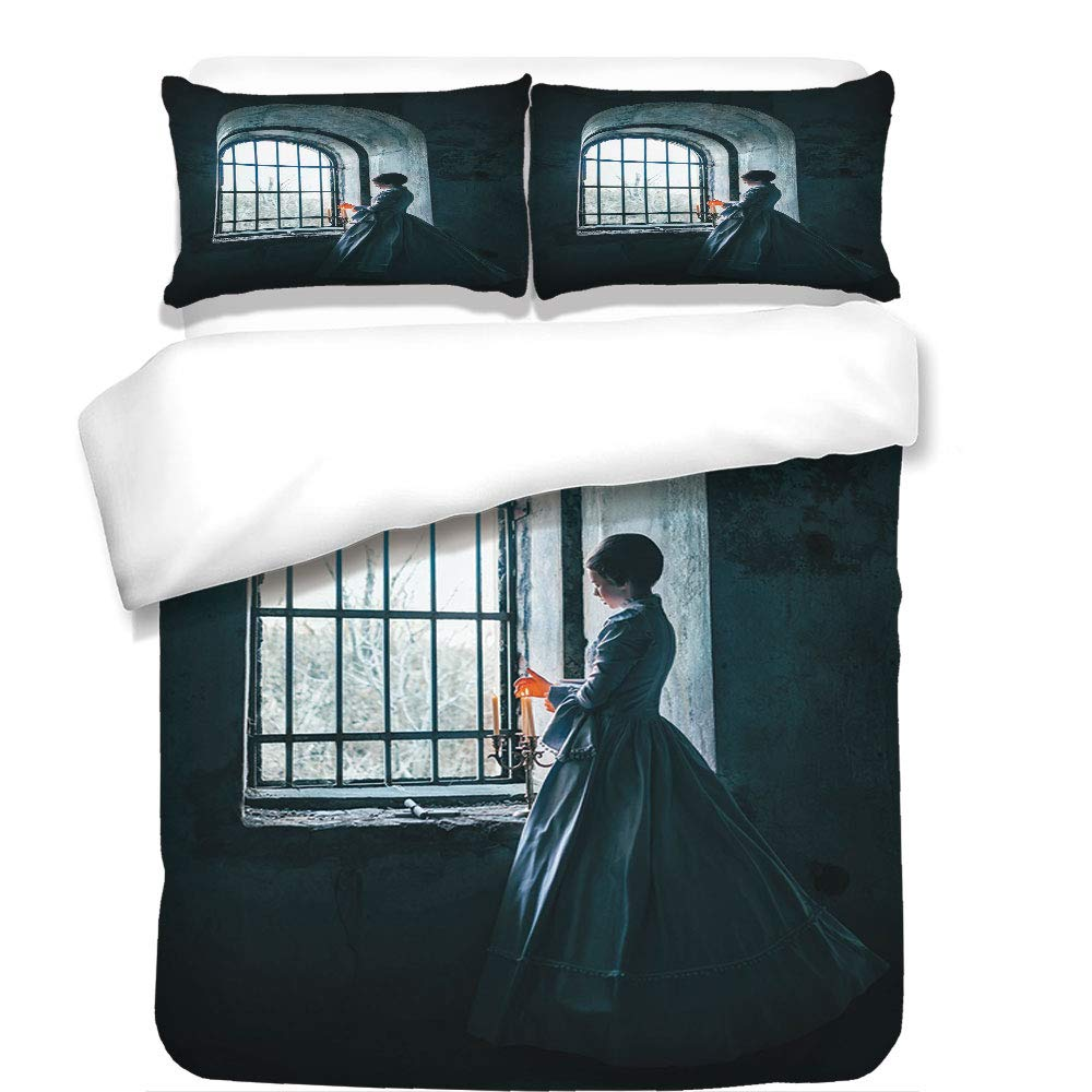 3Pcs Duvet Cover Set,Medieval Decor,Woman with Victorian Dress in Front of a Middle Age Style Window Gothic Dramatical Art Photo,Blue,Best Bedding Gifts for Family/Friends
