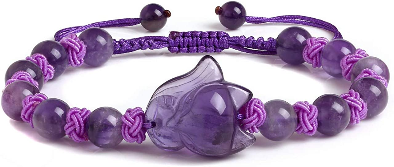 Jovivi 8mm Natural Amethyst Rose Quartz Crystal Genuine Semi-Precious Healing Power Yoga Beads Fox Amulet Crystal Elastic Stretch Beaded Bracelet