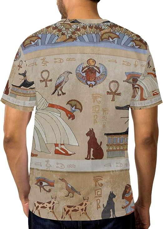 Camiseta básica de Manga Corta para Hombre de la Cultura egipcia Antigua: Amazon.es: Ropa y accesorios