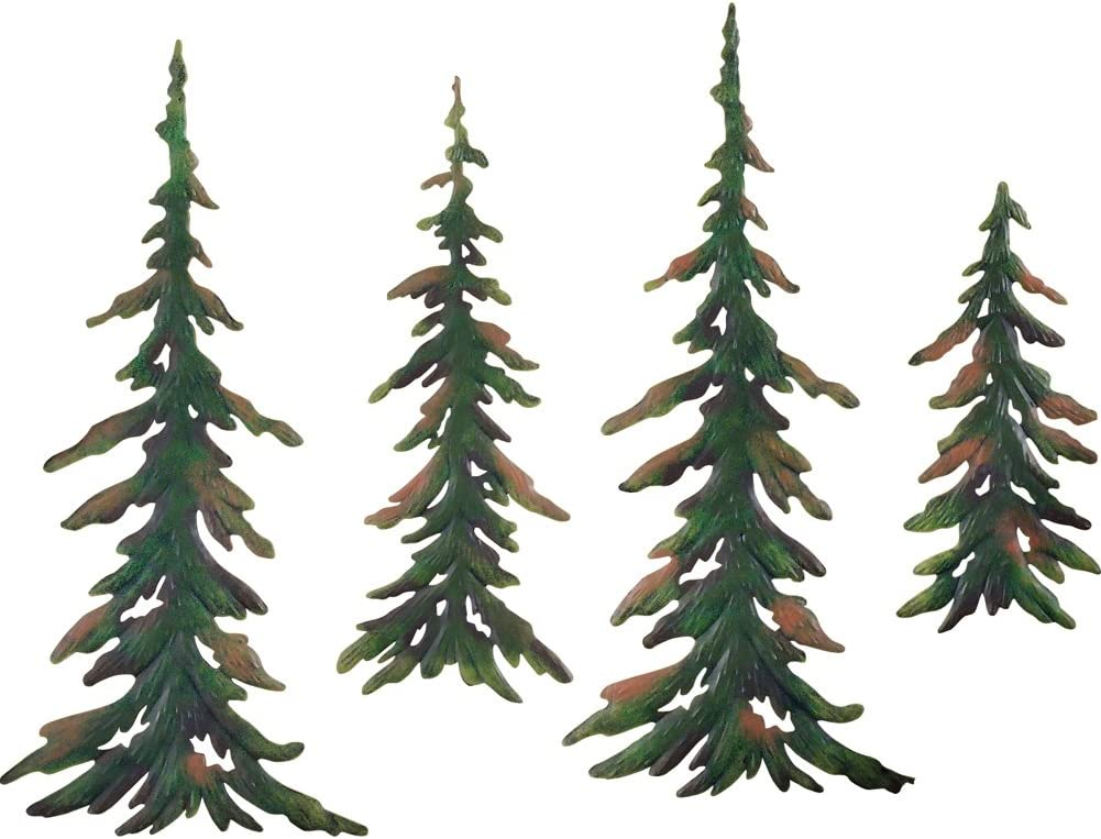 Amazon Com Collections Etc Evergreen Pine Tree Metal Wall Decor Set Of 4 Home Kitchen