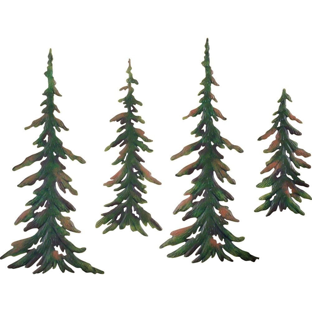 Collections Etc Evergreen Pine Tree Metal Wall Decor Set of 4 11872