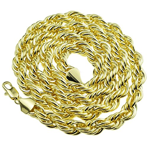 Rope Hip Hop Chain 10 mm 30 Inch Twisted Heavy Dookie Mens Gold Finish Braided ()