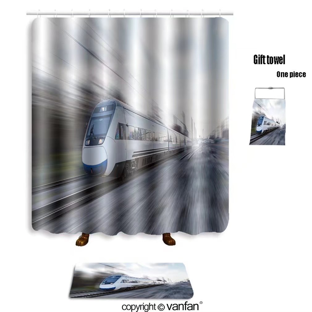 vanfan bath sets with Polyester rugs and shower curtain high speed train 244744891 shower curtains sets bathroom 72 x 108 inches&31.5 x 19.7 inches(Free 1 towel and 12 hooks)