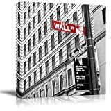 wall26 Black and White Photograph with Pop of Color on The Wall Street Sign - Canvas Art Home Decor - 24x24 inches
