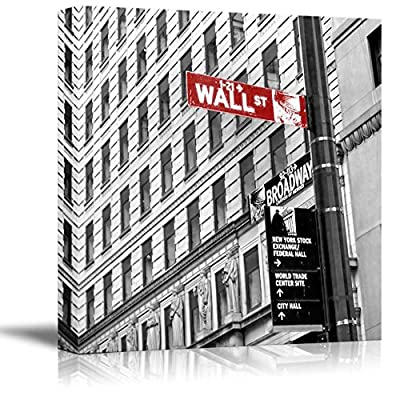 Black and White Photograph with Pop of Color on The Wall Street Sign, Top Quality Design, Magnificent Design