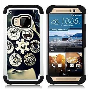 For HTC ONE M9 - Technology Mechanism Art Smiley Funny /[Hybrid 3 en 1 Impacto resistente a prueba de golpes de protecci????n] de silicona y pl????stico Def/ - Super Marley Shop -
