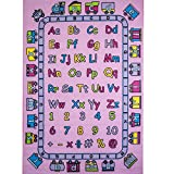 Kids Rug ABC Fun in Pink Area Rug 7'10'' X 11'3'' Children Area Rug for Playroom & Nursery Non Slip Gel Backing