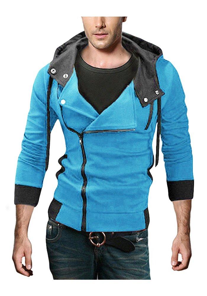 DOOXIUNDI Men's Oblique Zipper Hoodie Casual Top Coat Slim Fit Jacket:  Amazon.ca: Clothing & Accessories