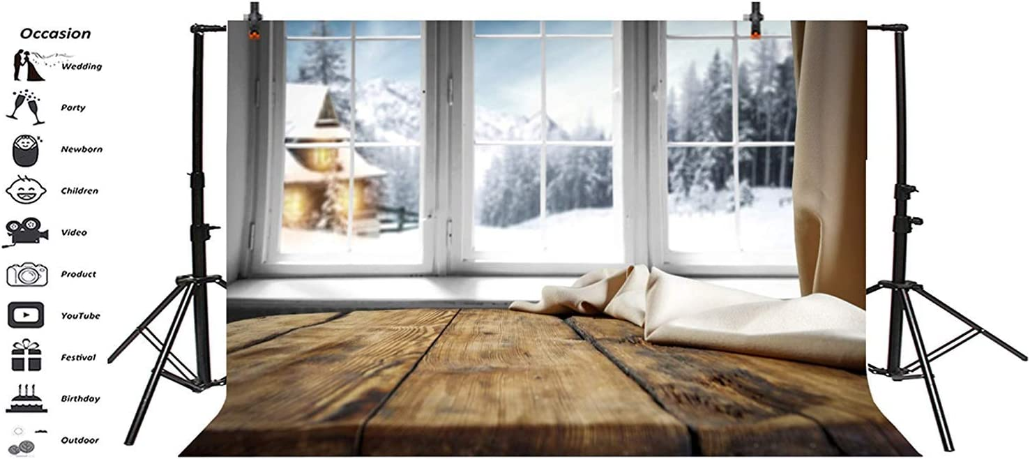Christmas New Year Backdrop Polyester 10x6.5ft Rustic Wooden Windowsill Khaki Curtain Out of The Window Bokeh Snowy Forest Trees House Background New Year Xmas Party Banner Child Baby Adult Shoot