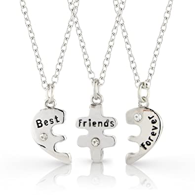 jewelry three pendant collier friend women friends best next forever products choker broken piece new slide friendship madison heart audrey pieces necklace