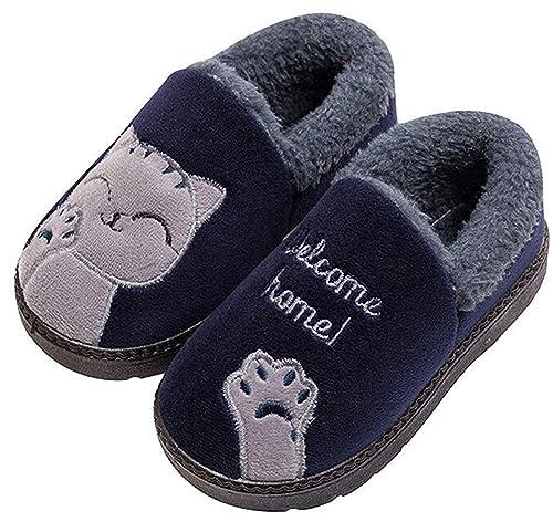 Zapatillas de Estar por casa Gato para niña niño Pantuflas Invierno Interior Suave Casa Caliente Zapatos Antideslizantes Peluche de Animales: Amazon.es: ...