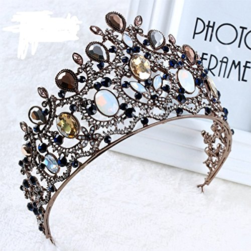 FUMUD Baroque crown retro hair accessories handmade Bridal headdress retro golden crown leaves tiara wedding pearl headband jewelry (1)