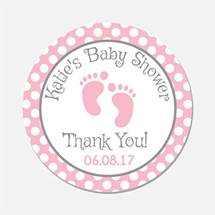 Amazon Com 40 Personalized Pink Baby Feet Shower Favor Stickers