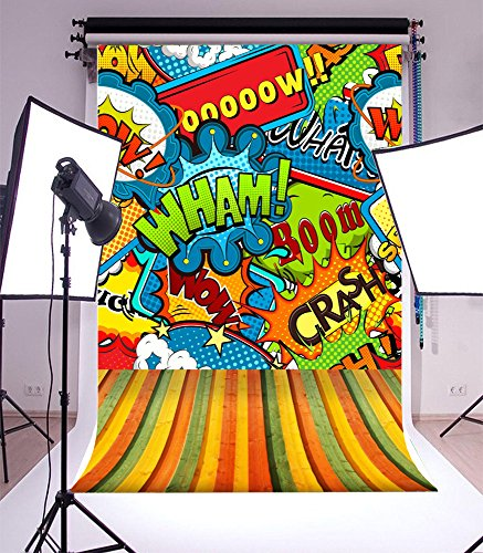 Laeacco Vinyl 6x8FT Photography Background Multicolored Comics Speech Bubbles Seamless Pattern Illustration WHAM BOOM WOW Colorful Stripe Floor Theme Backdrops Portraits Shooting Video Studio Prop (Card Wham Christmas)