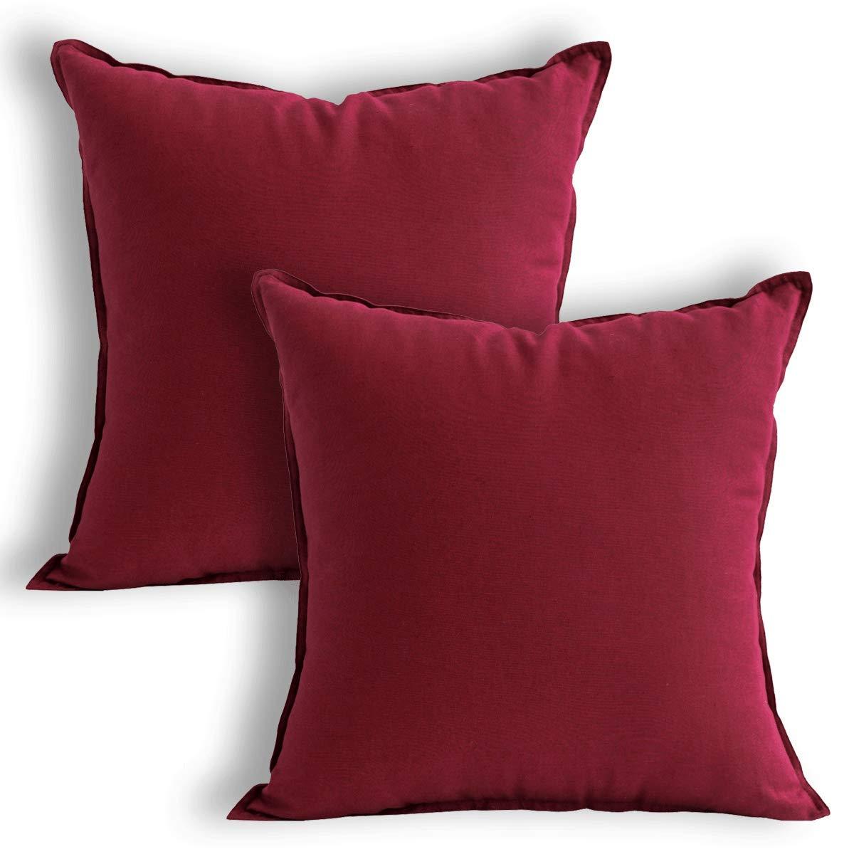 Jeanerlor Cotton Linen Decoration Toss Throw Pillow Sham 18''x18'' Cushion Case Cool Pillow Cover Delicate Decorative Pillowcase Children/Kid/Baby, (45 x 45cm) 2 Packs Burgundy