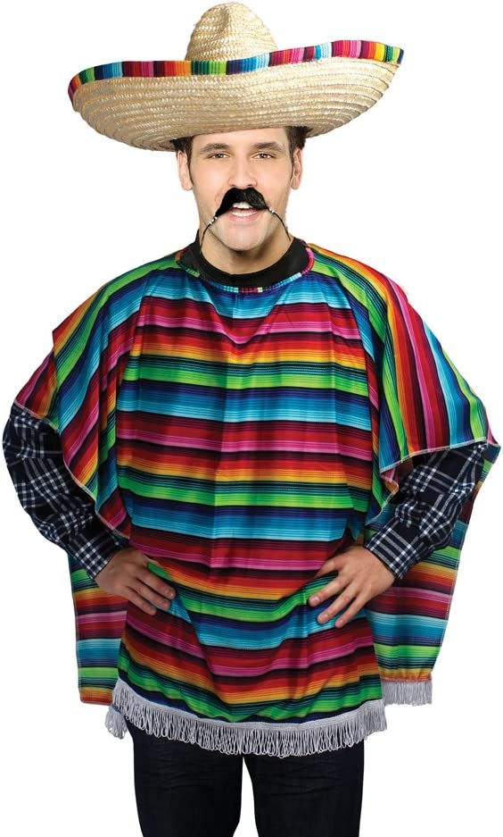 Bristol Novelty- Poncho Mexicano Adulto Disfraz, Multicolor, Talla ...