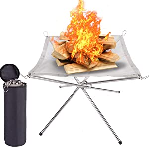 SUCHDECO Portable Outdoor Fire Pit - 2021 New Upgrade, 22 Inch Camping Stainless Steel Mesh Fireplace, Ultra Foldable Fire Pit for Patio, Camping, Barbecue, Backyard and Garden