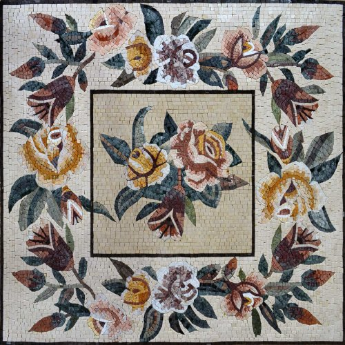 Ornamental Floral Handmade Mosaic Tiles Stone Art Floor Wall