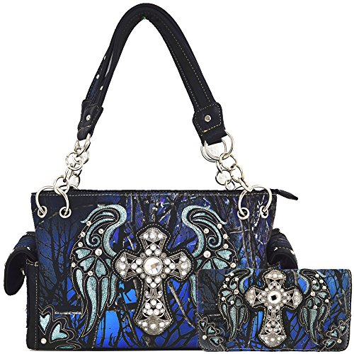 Camouflage Cross Wings Western Style Concealed Carry Purse Country Handbag Women Shoulder Bag Wallet Set (Blue Set)