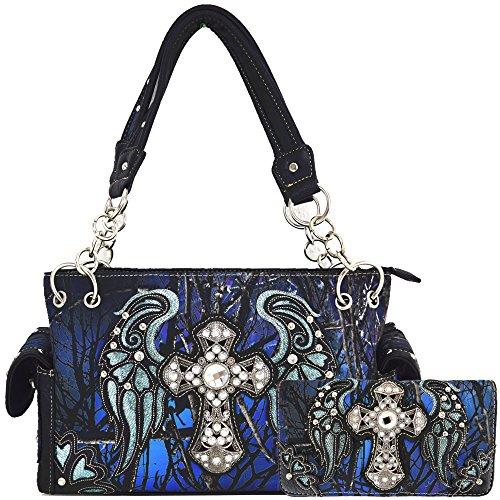 - Camouflage Cross Wings Western Style Concealed Carry Purse Country Handbag Women Shoulder Bag Wallet Set (Blue Set)