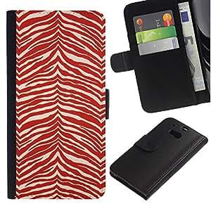 KingStore / Leather Etui en cuir / HTC One M8 / Modelo de la cebra Wallpaper Red White Stripes