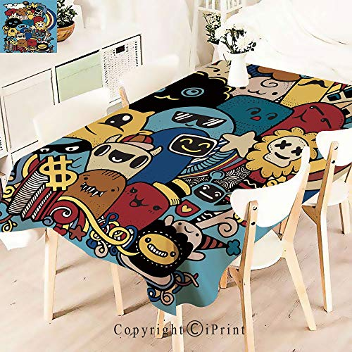 (Modern Decor Tablecloth, Cute Crazy Monster Universe Rainbow Stars,Graphic Fusion Artwork, Dining Room Kitchen Rectangular Table Cover,W55 xL71,Multicolor)