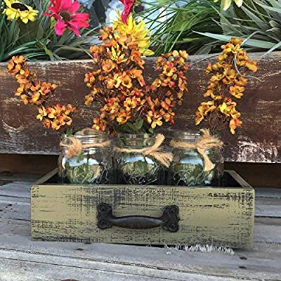 Centerpiece Wood DRAWER with 3 Mason Ball Pint Canning Jars Green Rustic Kitchen Table Bathroom Home Decor *AVAILABLE in MORE COLORS!
