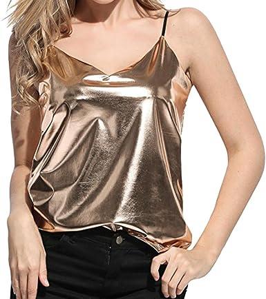 OHQ Chaleco líquido Brillante para Mujer Look Chaleco Superior para Club Blusa, Blusas Blusas para Mujeres Blusas para Mujer Moda 2018.Camiseta Camisetas de Mujer de Moda: Amazon.es: Ropa y accesorios