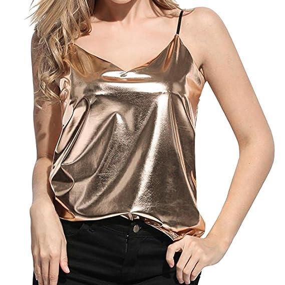OHQ Chaleco líquido Brillante para Mujer Look Chaleco Superior para Club Blusa,Blusas Blusas para