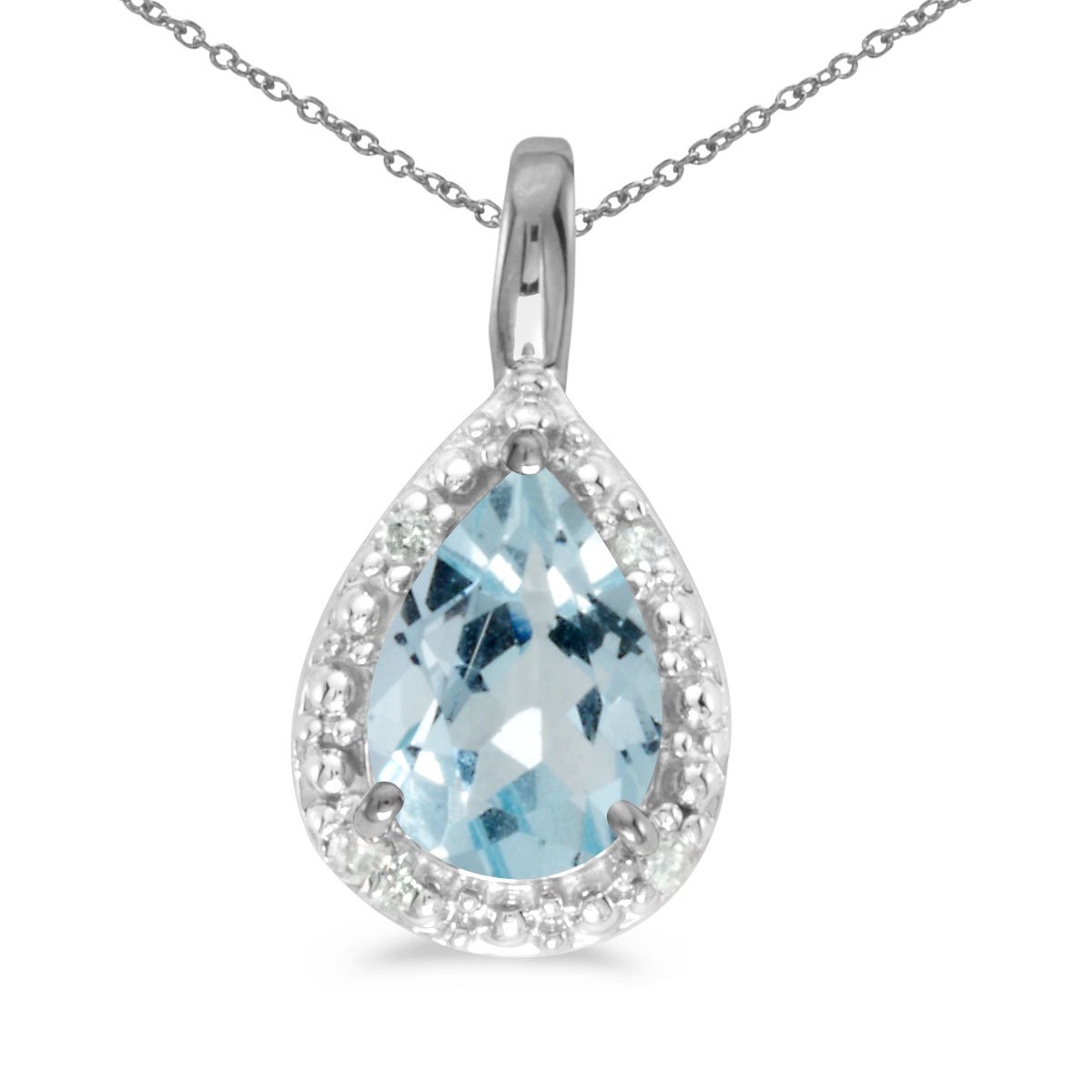 10k White Gold Pear Aquamarine Pendant with 18'' Chain