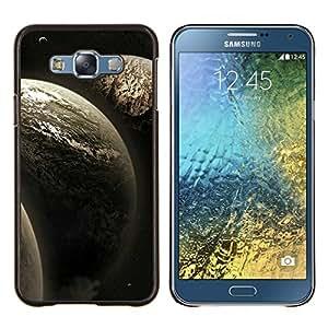 KLONGSHOP // Cubierta de piel con cierre a presión Shell trasero duro de goma Protección Caso - Tres Planetas - Samsung Galaxy E7 E700 //