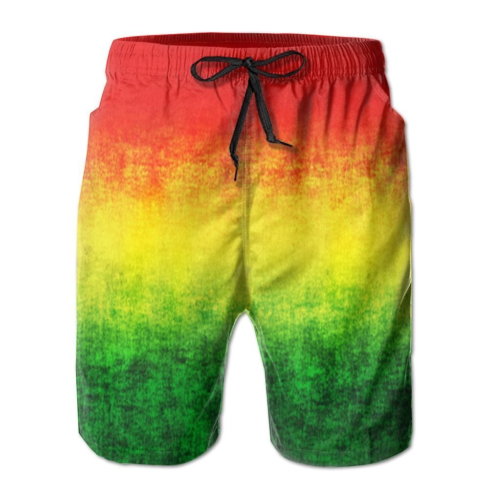 Large Feature Rasta Grunge Men Drawstrintg Elastic Stripe Swim Trunks Mesh Lining Beach Shorts Watershorts