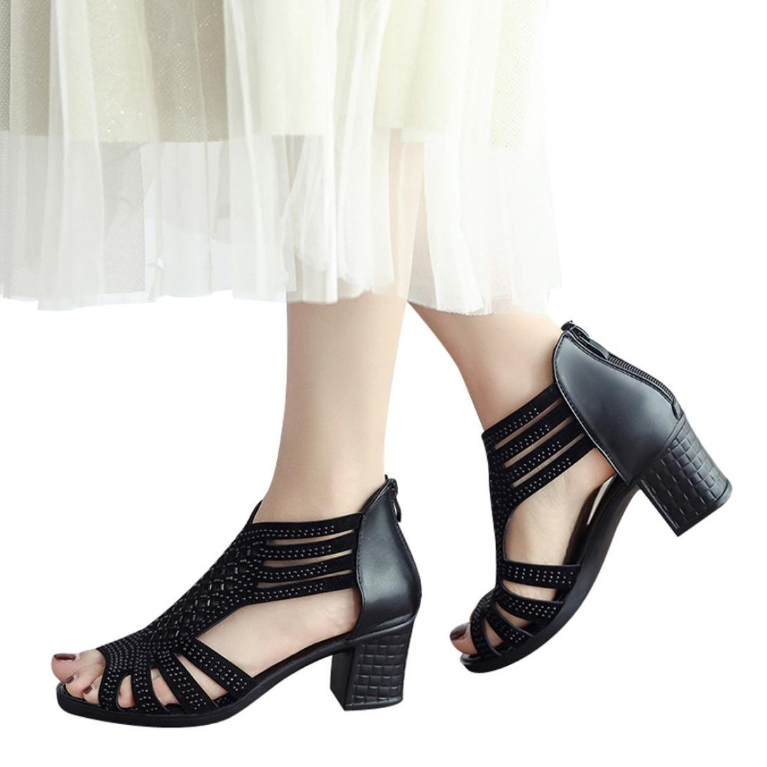 vermers Clearance Sale Women Wedges Sandals Fashion Crystal Hollow Out Peep Toe High Heeled Shoes(US:6.5, Black)