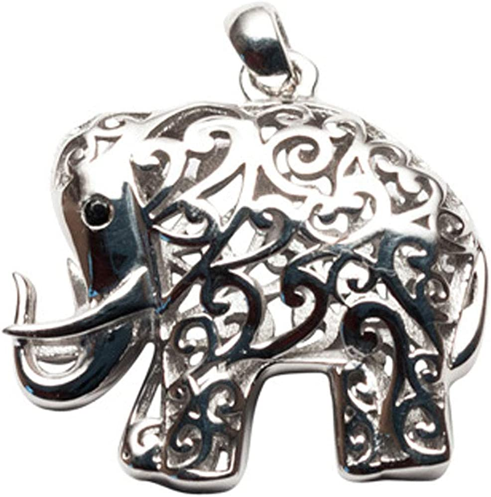 Fourseven 925 Sterling Silver Pendant | Jaali Elephant Pendant for Necklace