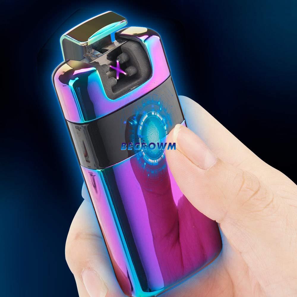 BECROWMEU Briquet Electronique Rechargeable sans Fil Double Arc Plasma Briquet Sans Flamme Coupe-Vent C/âble USB /Él/égant Coffret Cadeau