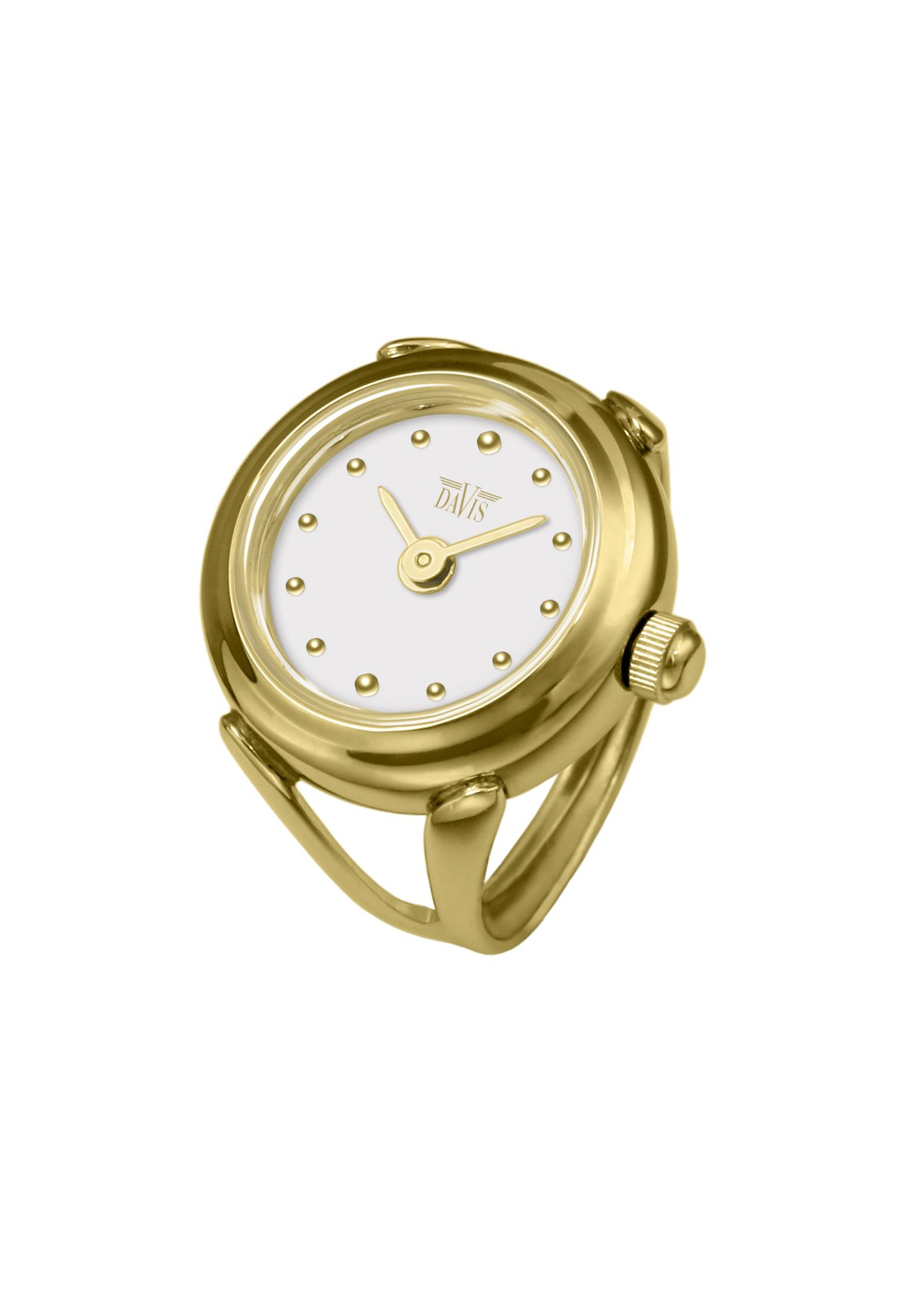 Davis - Womens Finger Ring Watch Sapphire Glass Adjustable (Gold / White Dial) by Davis