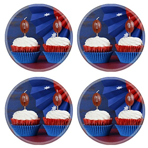 Kids Funnies Desk Sunday (MSD Round Coasters Non-Slip Natural Rubber Desk Coasters design: 35239476 Red white and blue theme cupcakes with football toppers for Super Bowl Sunday party or collage football f)