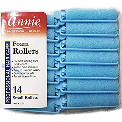 "Annie Classic Foam Cushion Rollers #1051, 14 Count Blue Small 5/8"""