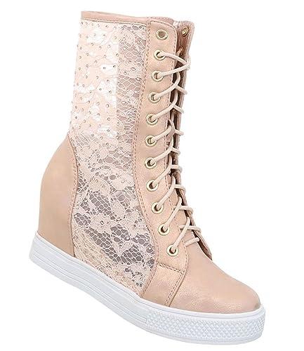 Elegante Damen Schuhe Sneakers gehäckelter Schaft Keilabsatz
