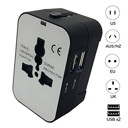 Worldwide All in One Universal Travel Adapter Wall Charger AC Power Plug Adapter with Dual USB Charging Ports for Asia, Europe, UK, AUS and USA ...