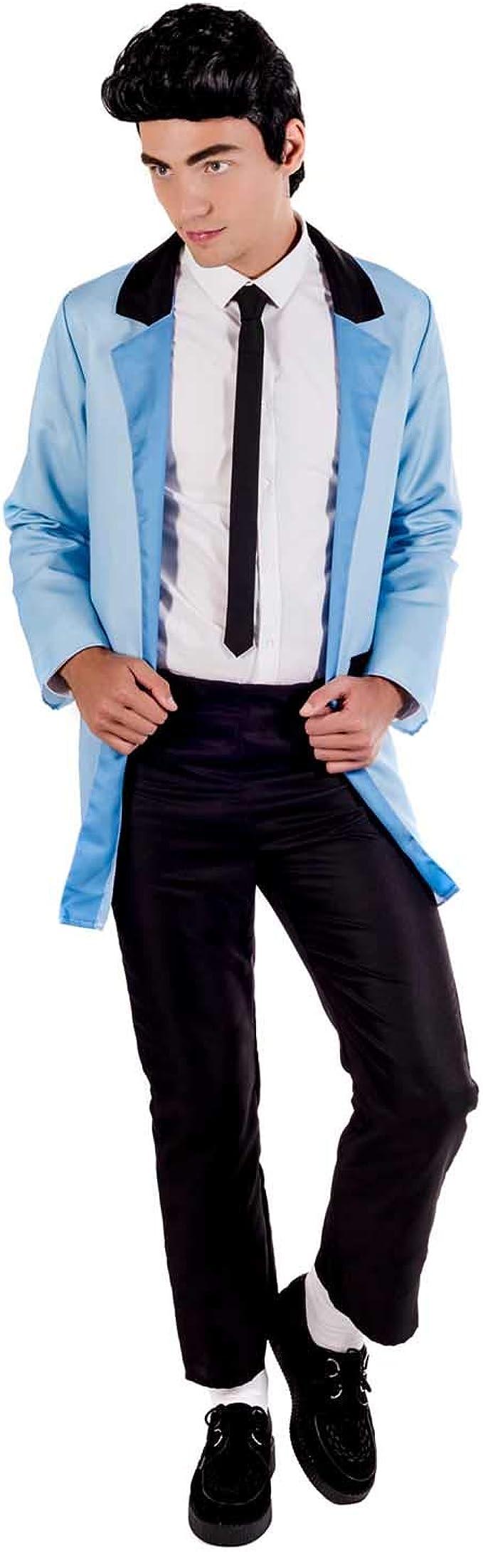 MENS TEDDY BOY 1950S BLACK WIG /& CHIC GLASSES FANCY DRESS COSTUME