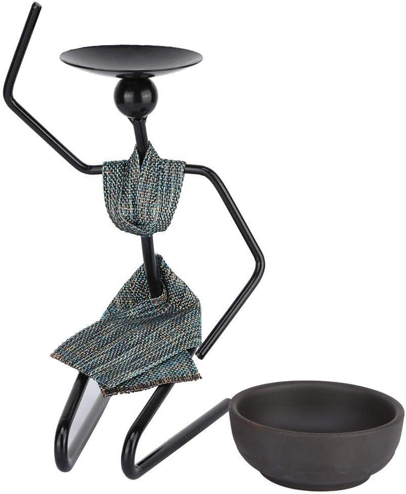 1# AUNMAS Classique Fer Chandelier Sculpt/é Africain Femme Forme Bougeoir Table /à Manger D/écoratif Maison Ornement