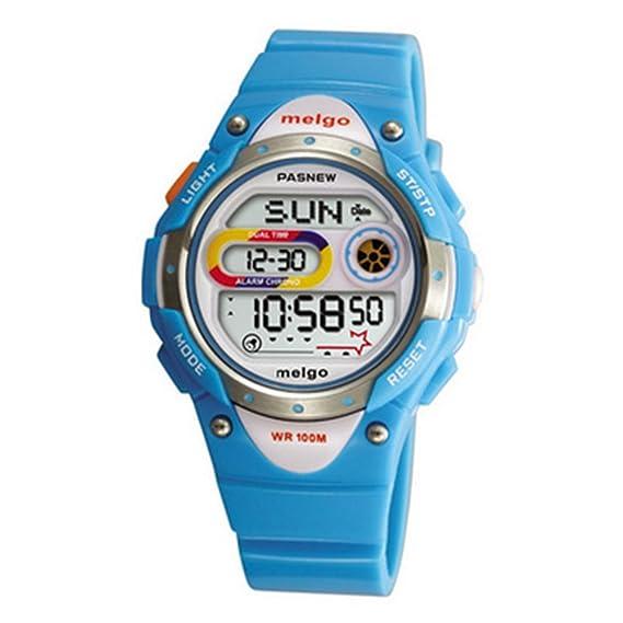 PASNEW LED resistente al agua 100 m Sports reloj Digital para niños niñas niños (azul