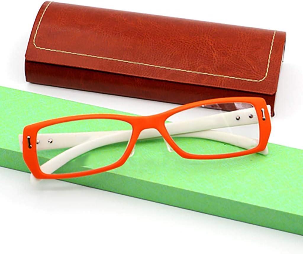 Equipo Gafas de lectura,Protección radiológica Anti-fatiga Los lectores de moda Marco completo Hd Peso ligero Unisex-naranja +2.5