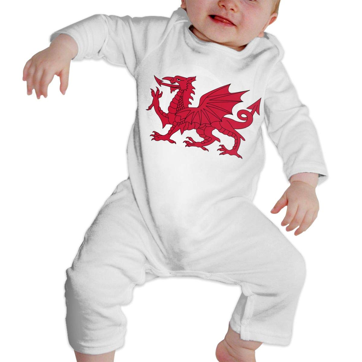 A1BY-5US Infant Baby Boys Girls Cotton Long Sleeve Wales Flag Climb Romper Funny Printed Romper Clothes