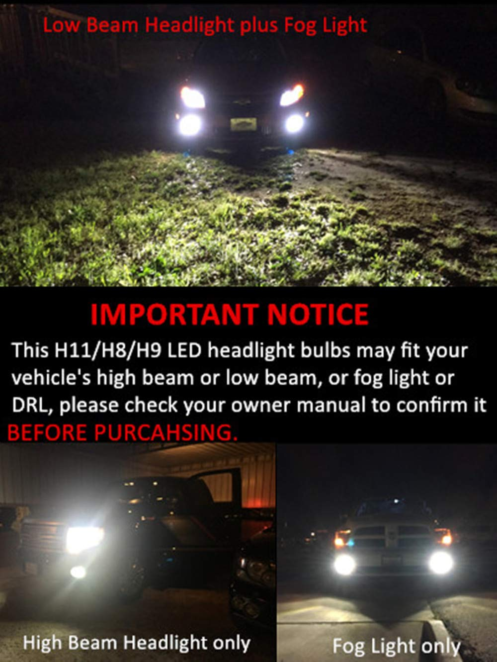 Alla Lighting 10000lm Led H11 Headlight Bulbs Or Fog Lights Not Both Extremely Super Bright Ts Cr H8 H9 H11 Led Headlight Bulbs Or Fog Light