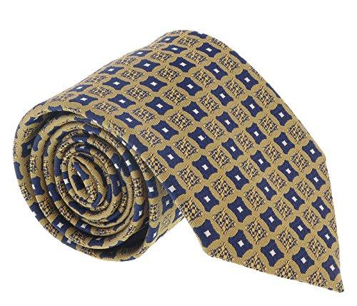 (Ermenegildo Zegna Navy-Mustard Curved Square Tie for mens )