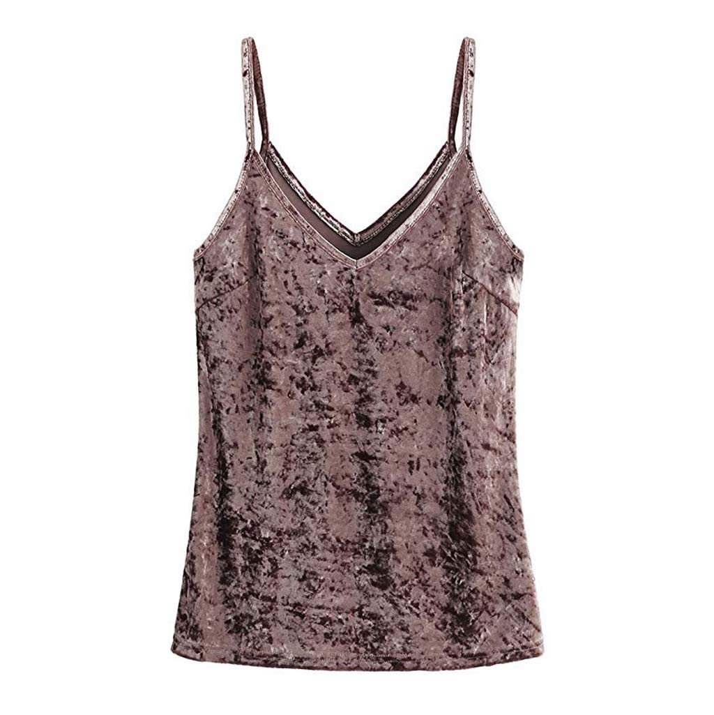 CHIDY Women Casual Sexy Sleeveless Basic Wild Strappy Print Velvet V Neck Camis Tank Top Blouse T-Shirt Pink