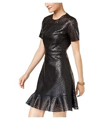 720791184a652 MICHAEL Michael Kors Women s Faux-Leather Fit   Flare Dress in Black ...
