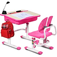 Baby Joy Kids Desk and Chair Set, Height Adjustable, Children's Study Table with Large Storage Space, Ergonomic Winged Backrest Chair, Student School Desk Set Great Gift for Ages 3 to 14 (Pink)